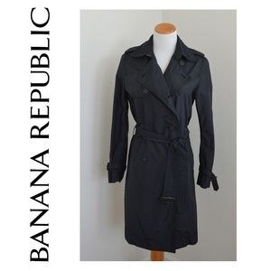 Banana Republic Trench Coat Double Breasted Black